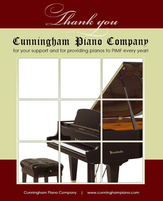 Cunningham Piano, proud sponsor of PIMF