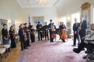 Temple Music Prep Orchestra at Presidential Mansion in Reykjavik
